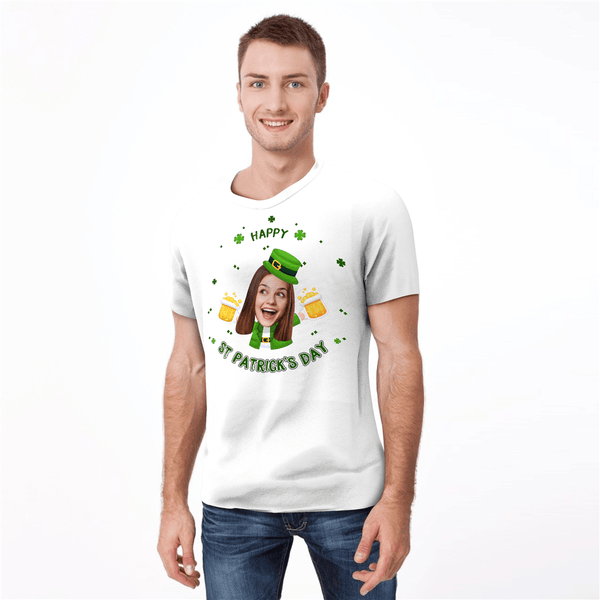 Custom Face Happy St. Patrick's Day Man T-shirt - MyPhotoSocksAU