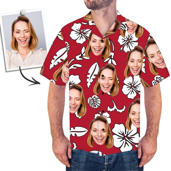 Custom Face Red Hawaiian Shirt Flowers And Leaves - MyPhotoSocksAU