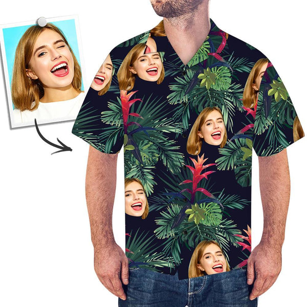 Custom Face Hawaiian Shirt All Over Print Leaves - MyPhotoSocksAU