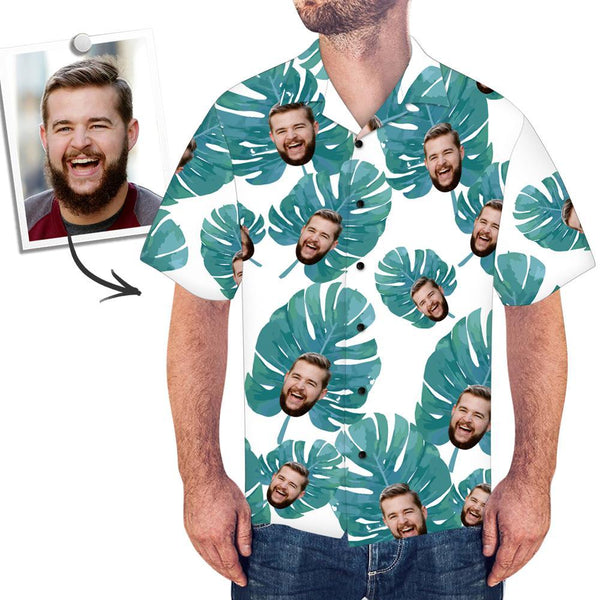 Custom Face Hawaiian Shirt Large Leaves - MyPhotoSocksAU