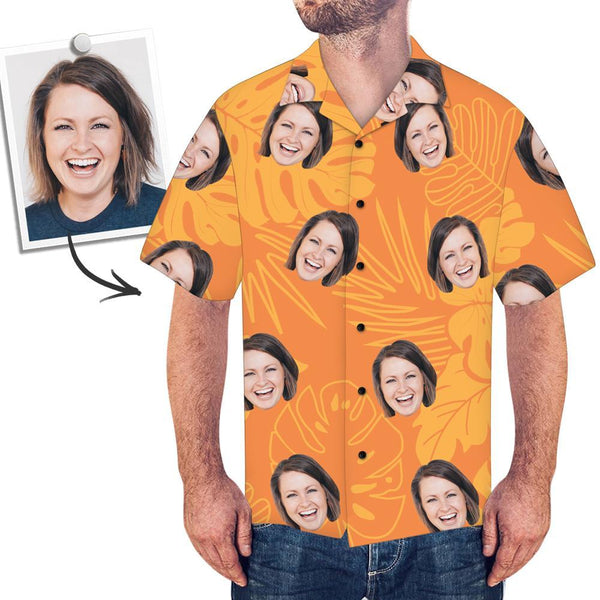 Custom Face Orange Hawaiian Shirt Leaves - MyPhotoSocksAU
