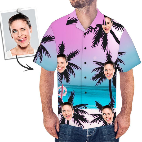 Custom Face All Over Print Beach Style Hawaiian Shirt Coconut Trees - MyPhotoSocksAU