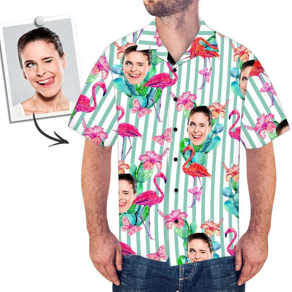 Custom Face All Over Print Stripe Hawaiian Shirt Flamingo - MyPhotoSocksAU