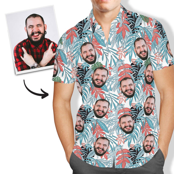 Custom Face Hawaiian Shirt Men's All Over Print Leaves - MyPhotoSocksAU