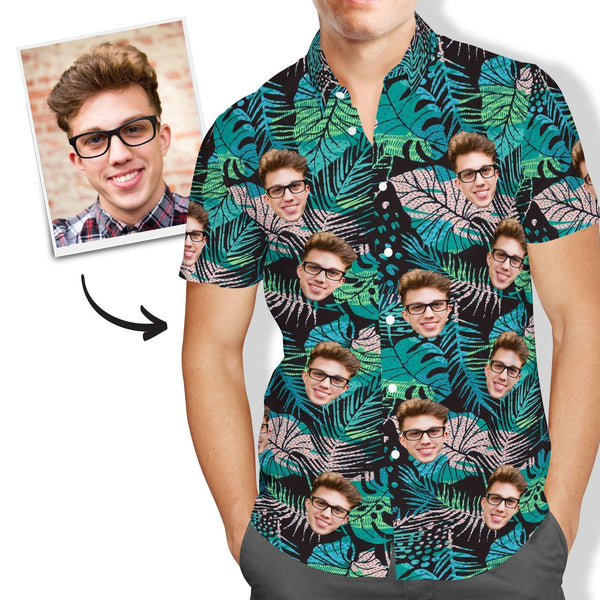 Custom Face Hawaiian Shirt Men's All Over Print Large Leaves Short Sleeve Shirt - MyPhotoSocksAU
