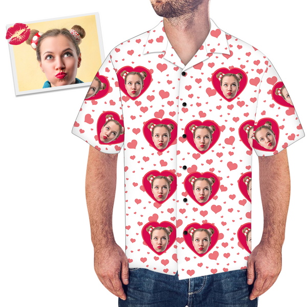 Custom Face Loving Couple Men's All Over Print Hawaiian Shirt - MyPhotoSocksAU