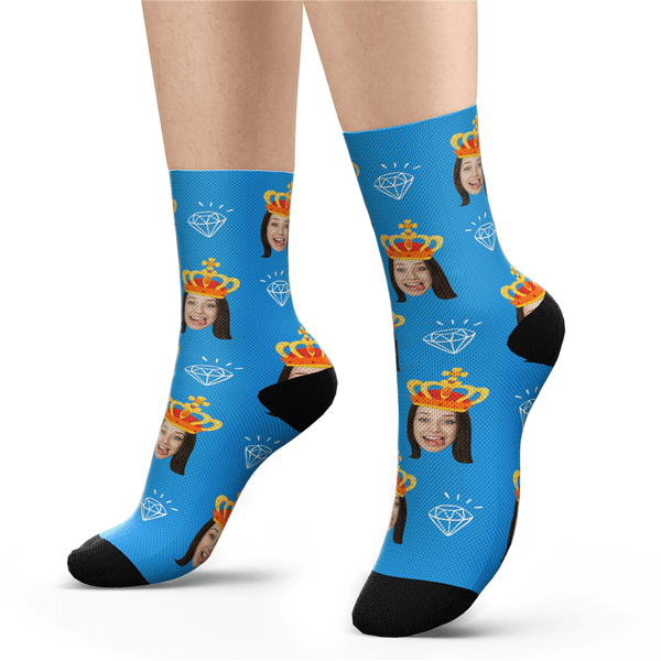 Custom Photo Socks Diamond Queen Face Socks