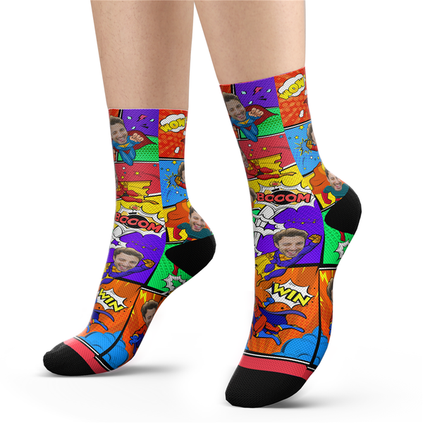 Custom Superhero Comic Socks With Your Text - MyPhotoSocks
