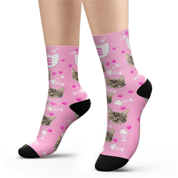 Custom Photo Cat Socks With Your Text