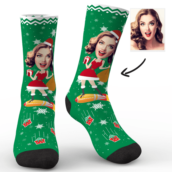 Custom Photo Socks Christmas Dog With Your Text - MyPhotoSocks