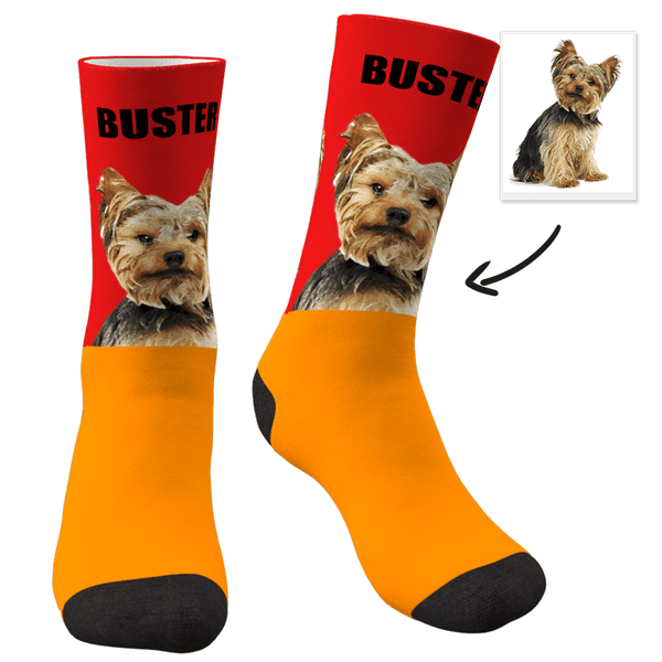 Custom Photo Dog Socks Painted Art Portrait With Your Text - MyPhotoSocksAU