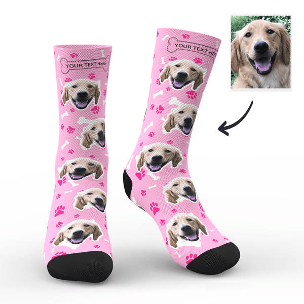 Custom Photo Socks Dog With Your Text