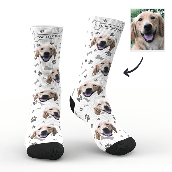 Custom Photo Socks Dog Face Socks White