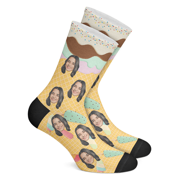 Custom Photo Socks Ice Cream Face Socks