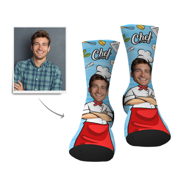 Custom Chef Face Socks - MyPhotoSocksAU