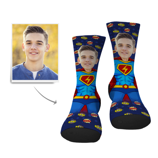 Custom Superman Face Socks - MyPhotoSocksAU