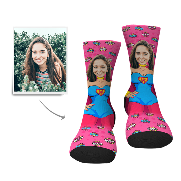 Custom Superwoman Socks - MyPhotoSocksAU