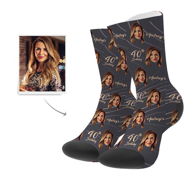Custom Face Age Name Socks - Happy 40th Birthday - MyPhotoSocksAU