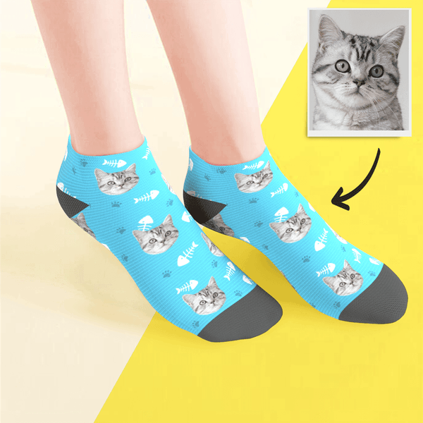 Custom Low Cut Ankle Face Socks Cat - MyPhotoSocksAU