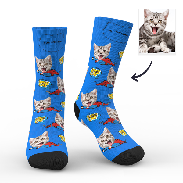 Custom Face Socks Super Cat With Your Text
