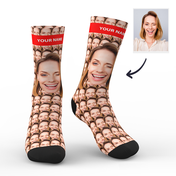 Custom Your Face Mash Socks With Your Text