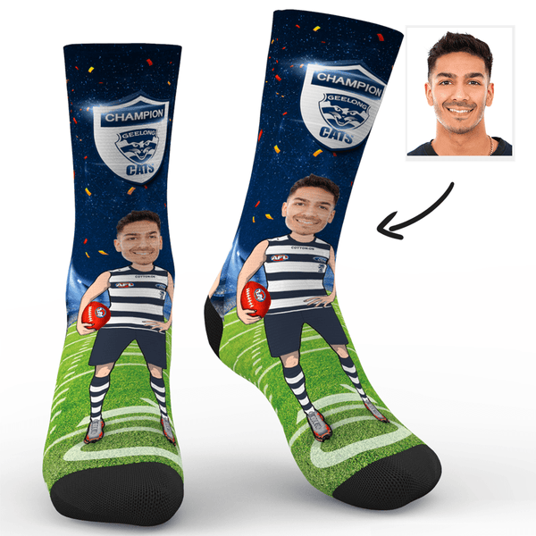 Custom Photo Socks Geelong Cats Superfans AFL With Your Text