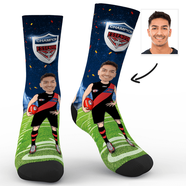 Custom Photo Socks Essendon Bombers Superfans AFL With Your Text