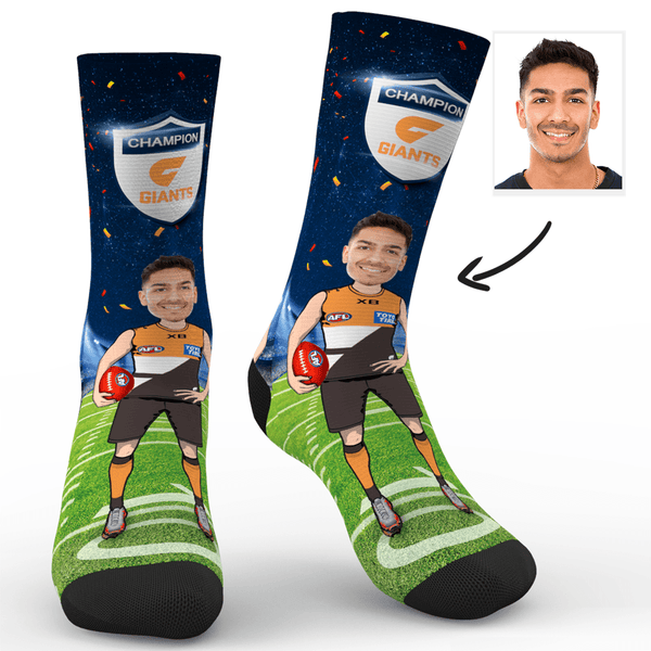 Custom Photo Socks GWS Giants Superfans AFL With Your Text