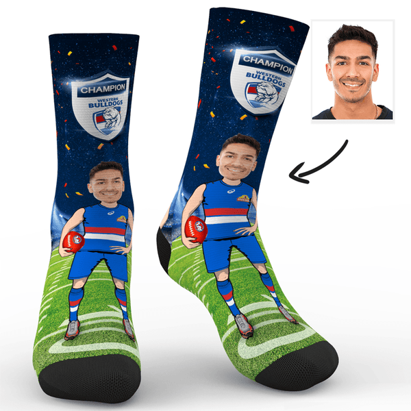 Custom Photo Socks Western Bulldogs Superfans AFL With Your Text