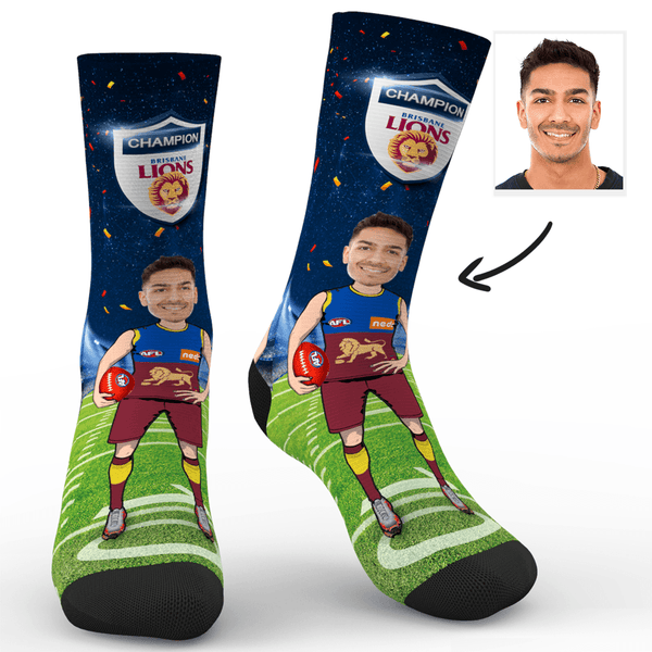 Custom Photo Socks Brisbane Lions Superfans AFL With Your Text