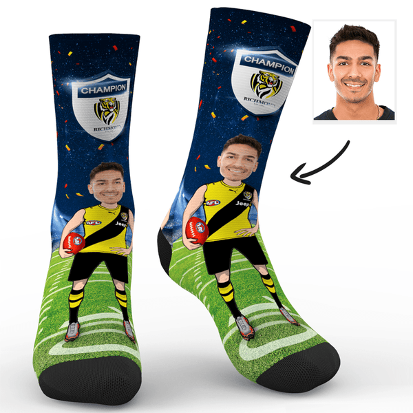 Custom Photo Socks Richmond Tigers Superfans AFL With Your Text