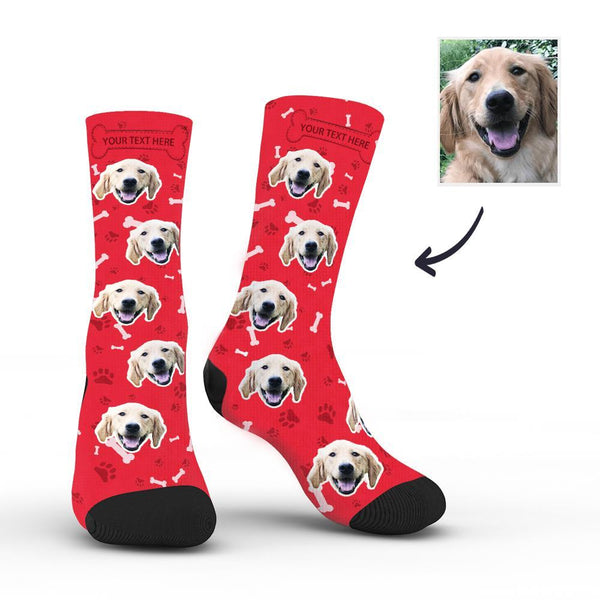 Custom Rainbow Socks Dog With Your Text - Red -MyPhotoSocksAU