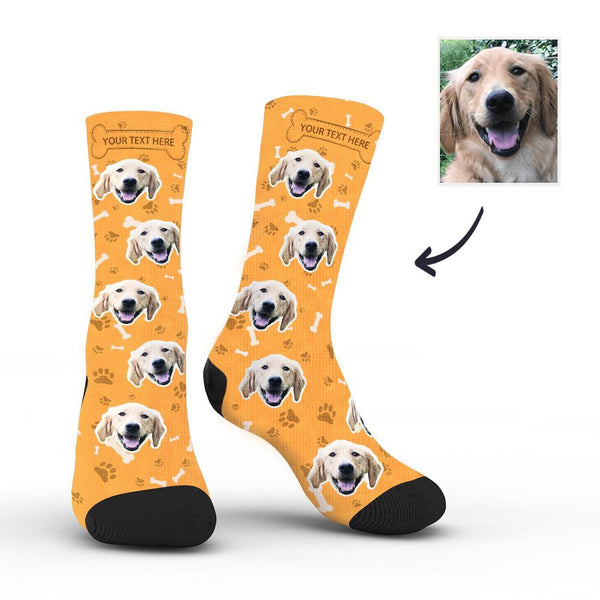 Custom Rainbow Socks Dog With Your Text - Orange -MyPhotoSocksAU