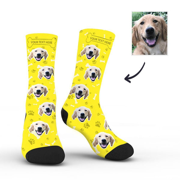 Custom Rainbow Socks Dog With Your Text - Yellow -MyPhotoSocksAU