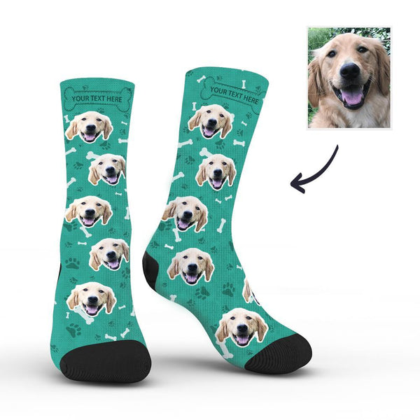 Custom Rainbow Socks Dog With Your Text - Teal -MyPhotoSocksAU