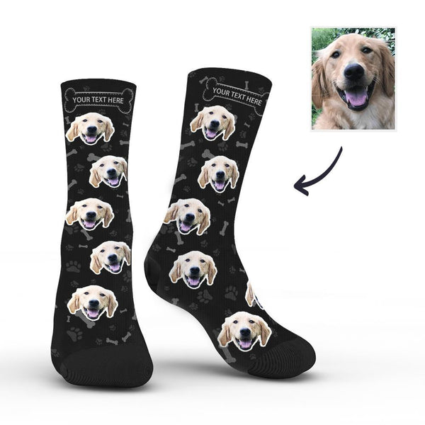 Custom Rainbow Socks Dog With Your Text - Black -MyPhotoSocksAU