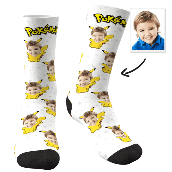 Custom Photo Socks Pokemon Pikachu