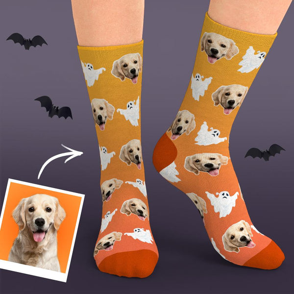 Custom Face Dog Ghost Halloween Socks