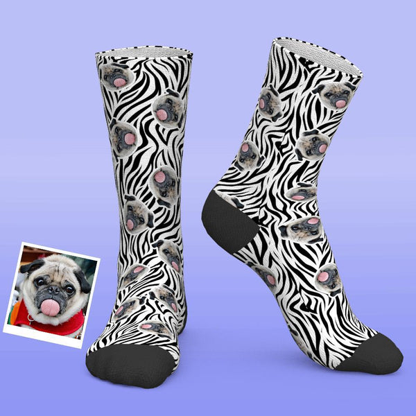 Custom Photo Socks Zebra Print Personalised Funny Socks