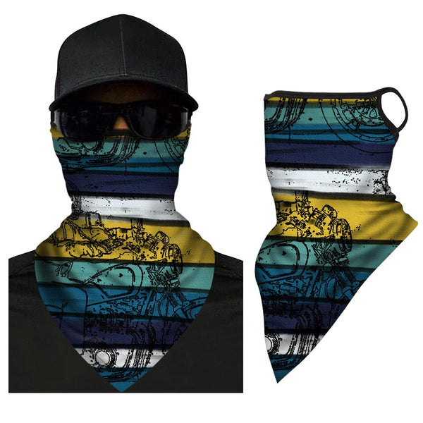 Neck Gaiter Sport Scarf Elasticity Face Covering With Ear Loop Breathable Triangle Bandana - MyPhotoSocksAU