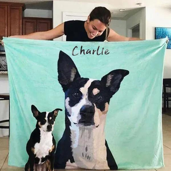 Custom Dog Blankets Personalized  Pet Fleece Blanket Painted Art Portrait - MyPhotoSocksAU