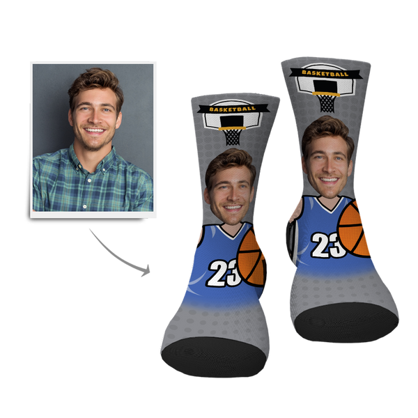 Custom Basketball Player Face Socks - MyPhotoSocksAU
