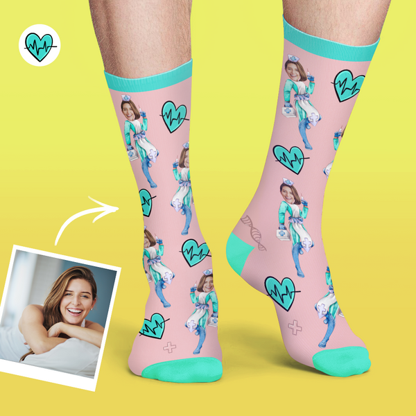 Custom Nurse Socks Add Pictures And Name