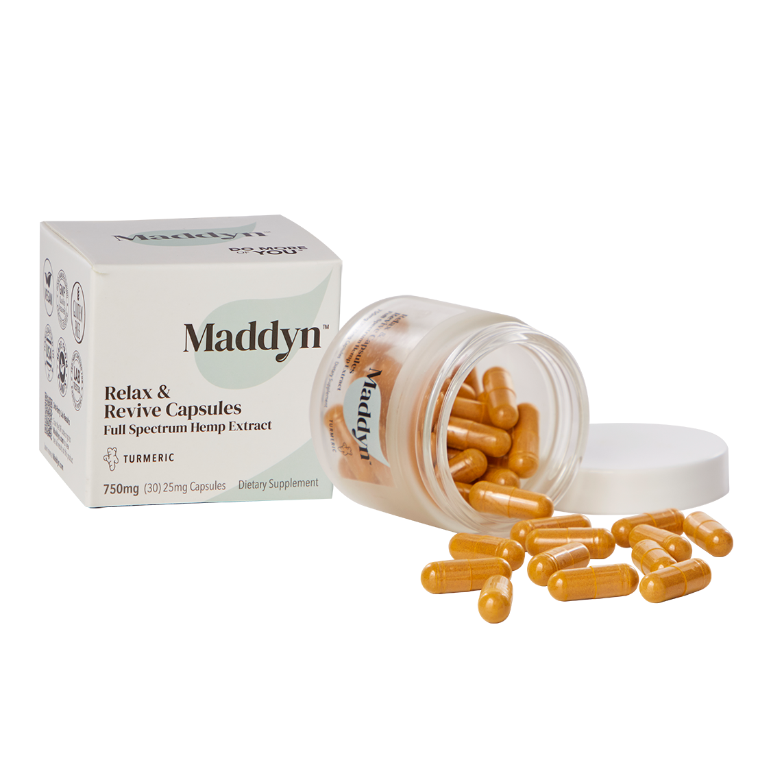 Maddyn Relax & Revitalize full spectrum hemp extract CBD capsules