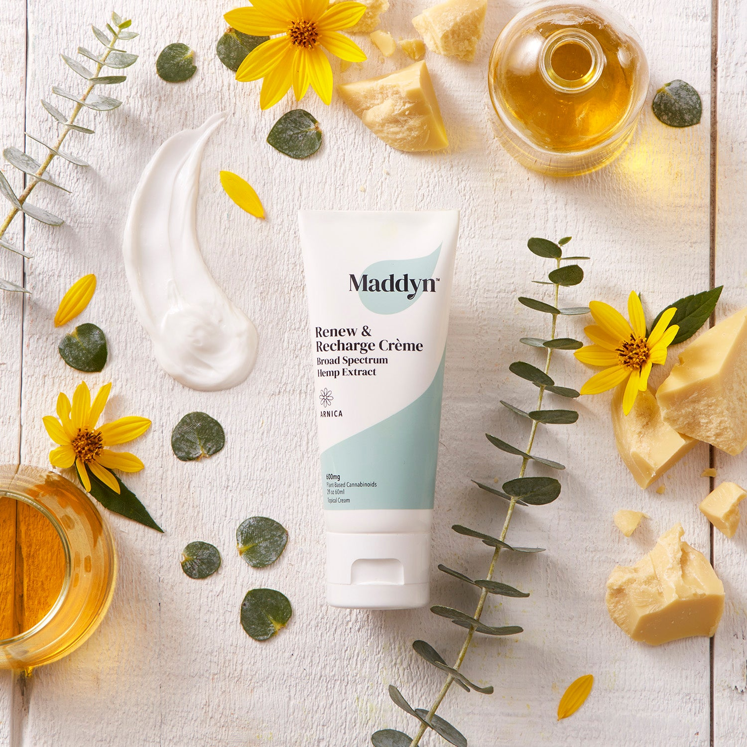 Maddyn topical CBD cream with cocoa butter, arnica, and eucalyptus oil