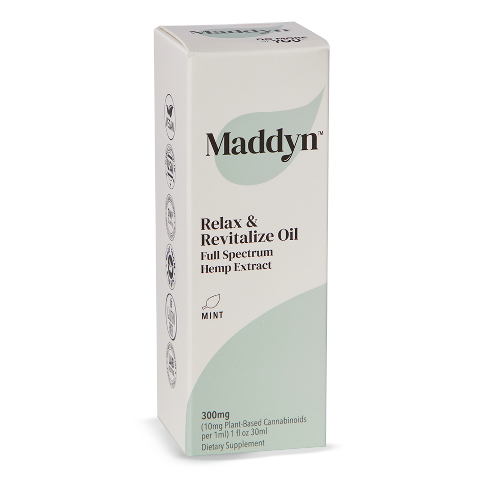 Packaging for Maddyn mint flavored CBD oil