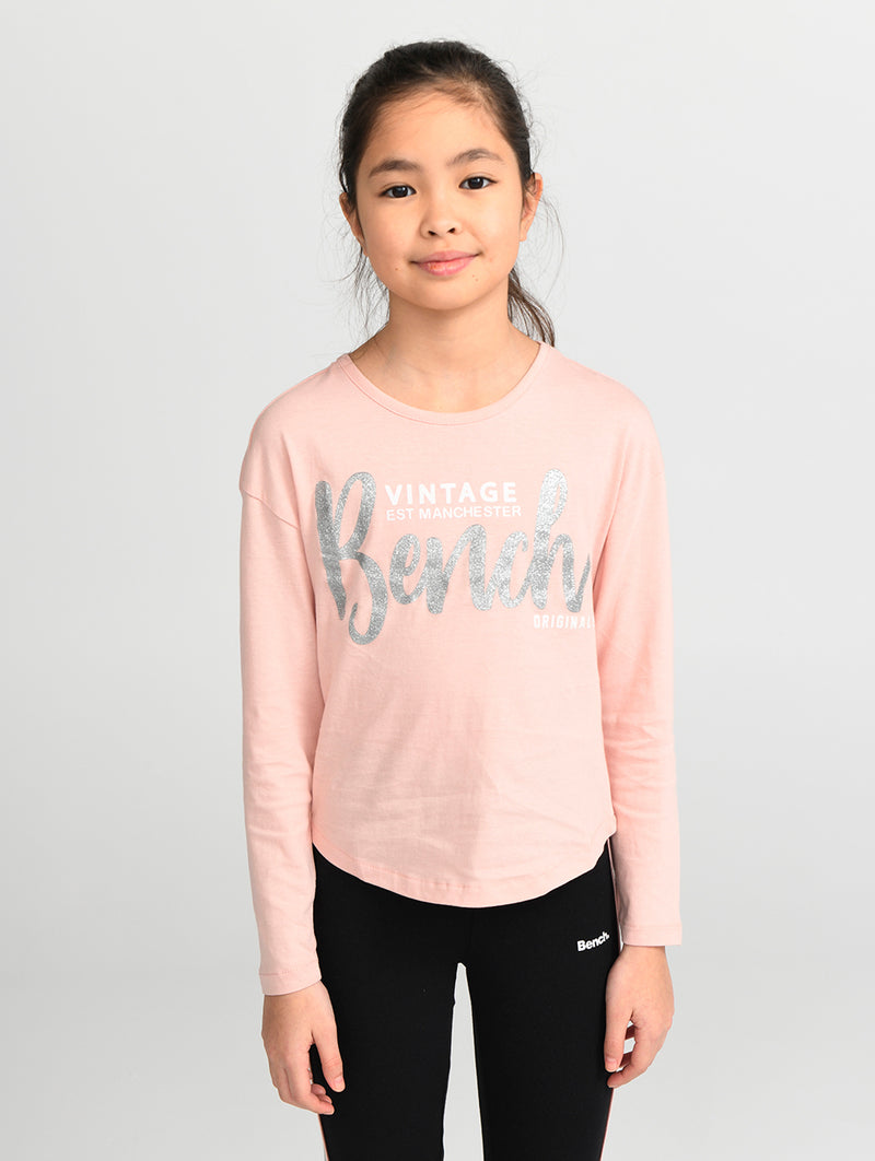 LONG SLEEVE TEE WITH GLITTER GRAPHIC