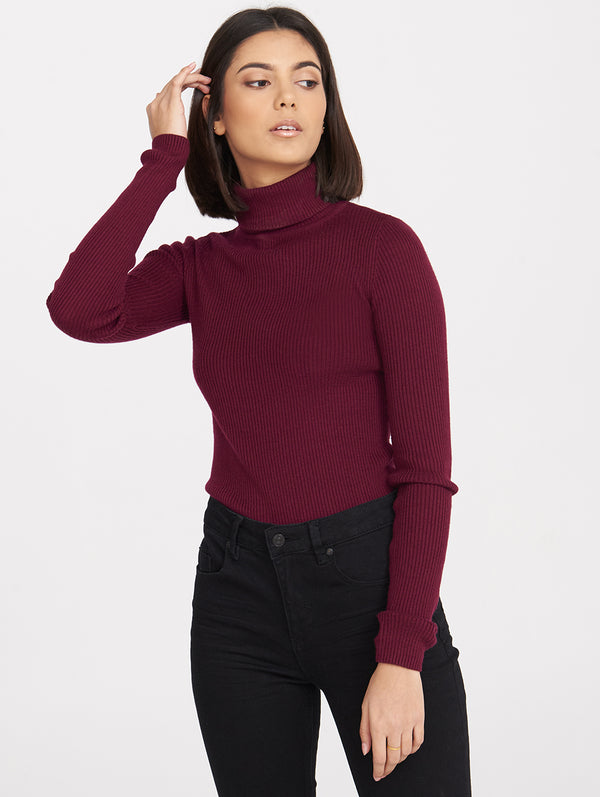 CARA MOCK NECK RIB TOP