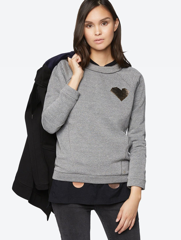 Women's Sweatshirt with Shiny Granular Heart Motif - Bench