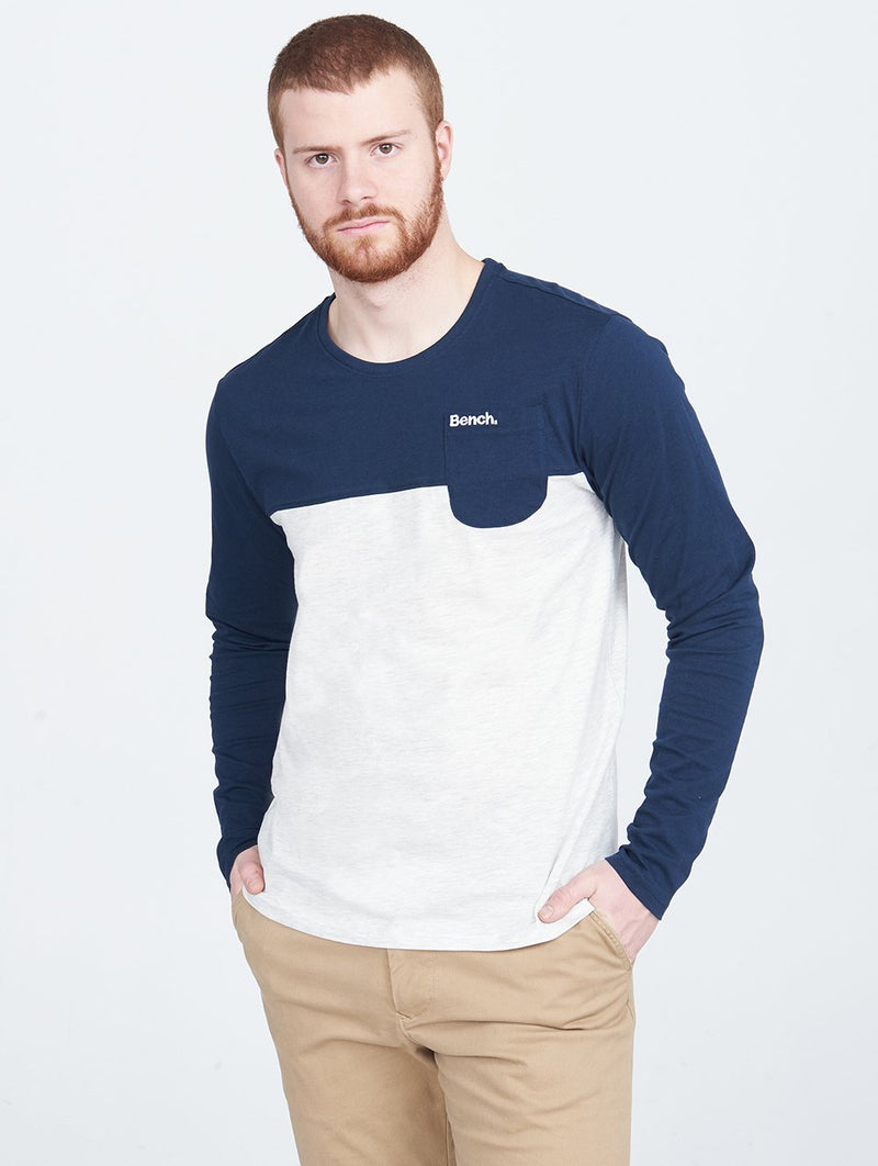 Men's MENS CREW NECK L/S TEE COLORBL - Bench